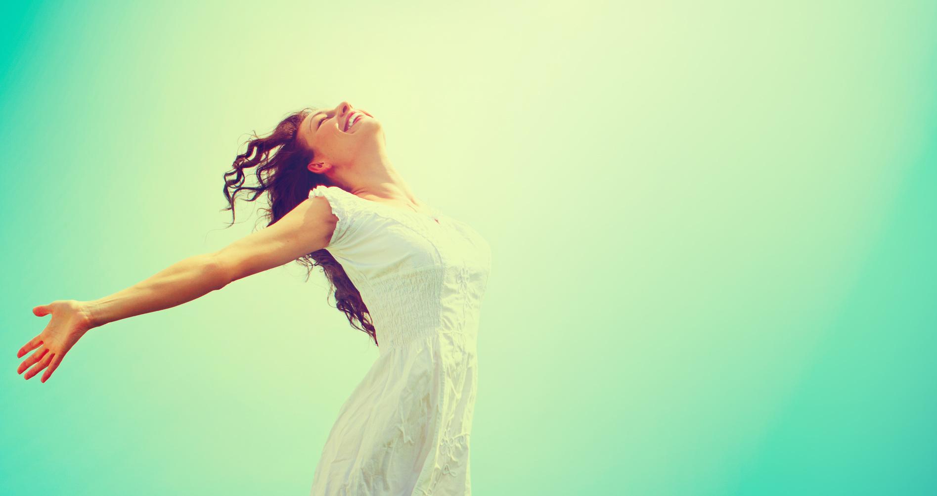 Free Happy Woman Enjoying Nature. Befriend Your Hormones