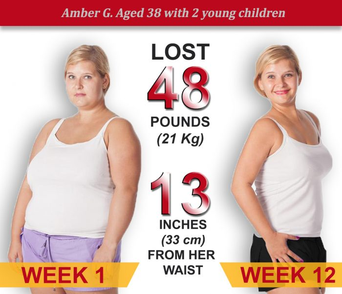 Amber, aged 38, lost 48 pounds in 12 weeks.